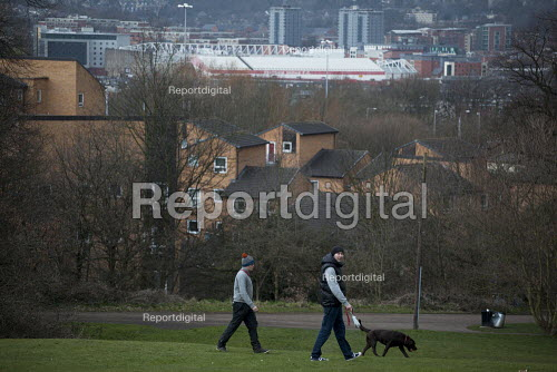 Two men walking their dogs in a park a view of housing and the Sheffield United football grounds. Sheffield, South Yorkshire. - Connor Matheson - 2015-03-28