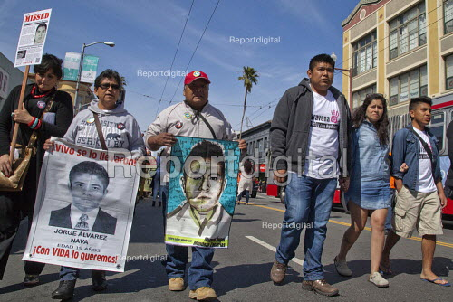 San Fancisco: Students of the Ayotzinapa Raul Isidro Burgos Rural Teachers' College in Iguala, Guerrero, Mexico, and the parents of two others, march with supporters in San Francisco to protest at the disappearance of 43 students from the school last September and the murder by police of three others. The four are traveling through out U.S. cities to publicise the cases. - David Bacon - 2015-04-04