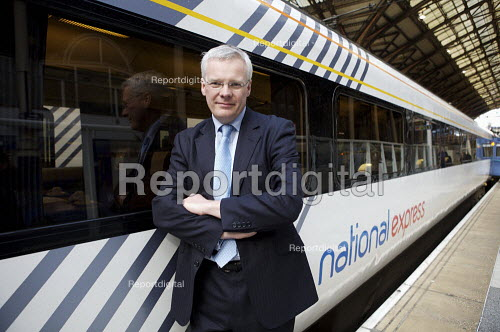 Richard Bowker CEO National Express next to Anglia train, Liverpool street station, London - Duncan Phillips - 2008-02-27