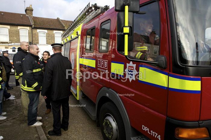 London fire strike, Picket Tottenham Fire Station.EFC Employee driving an untaxed fire tender - Duncan Phillips - 2010-11-01
