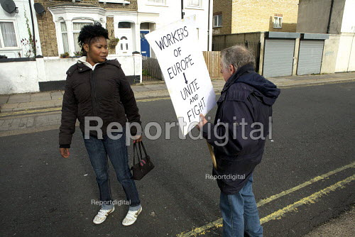 Independent Protester greets passerby London fire strike, Picket Tottenham Fire Station - Duncan Phillips - 2010-11-01