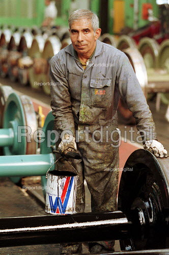 Factory Worker Adtranz Derby where they make railway carrages. - Duncan Phillips - 2001-01-23