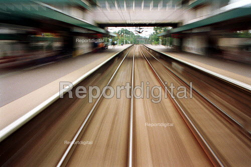 Drivers view of a commuter train passing through a railway station - Duncan Phillips - 2002-01-17