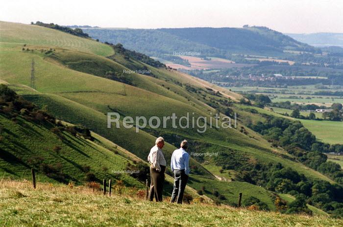 Elderly gentlemen taking a stroll on the South Downs - Duncan Phillips - 2002-10-03