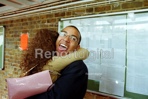 Students celebrating their A level results - Duncan Phillips - 2002-10-24
