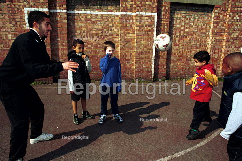 Local Children practicing ball skills on a football training session Kings Cross London - Duncan Phillips - 2000-05-15