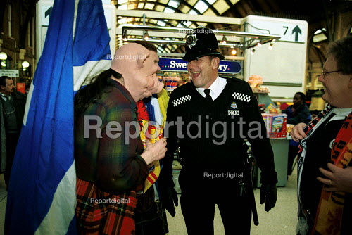 British Transport Police officers and Scotland Fans Kings Cross Station - Duncan Phillips - 1999-09-15