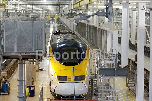 Eurostar Engineering Centre, Temple Mills, London. The facility is more than 400 metres long, and can take eight of Eurostar's 27-strong fleet of trains simultaneously.