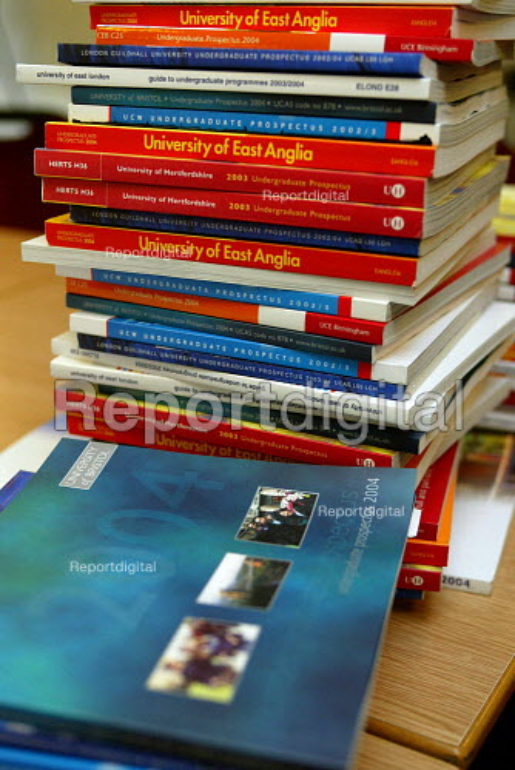 A pile of university prospectuses - Duncan Phillips - 2003-06-29