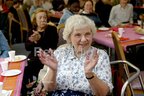 Pensioners taking exercise at a drop in centre. London - Duncan Phillips - 2003-06-29