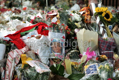 Flowers left by mourners at Diana Princess of Wales Funeral, London - Duncan Phillips - 1997-09-06