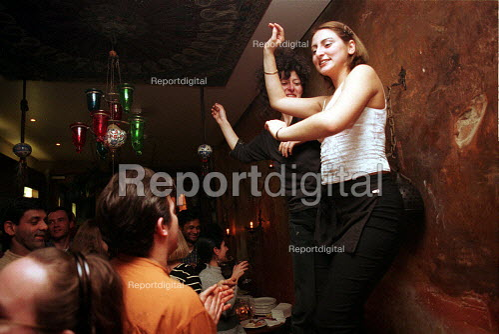 Dancing at a Traditional Turkish celebration Gallipoli restaurant London - Duncan Phillips - 2002-09-15