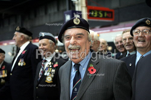 Leslie Thomas author of The Virgin Soldiers meeting members of the National Service veterans association. Remembrance service London. Remembrance service London - Duncan Phillips - 2004-11-10