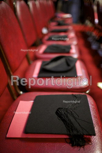 Mortarboards placed on chairs at a university graduation day at The Guildhall, London - Duncan Phillips - 2010-12-02