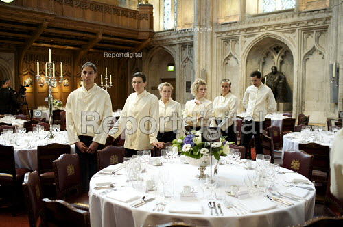Catering staff preparing for a banquet at the Guildhall, London - Duncan Phillips - 2009-04-27