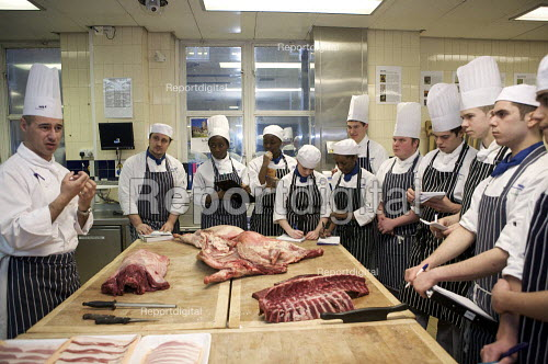 Catering Students learning Butchery skills. WKC college, London - Duncan Phillips - 2010-03-09