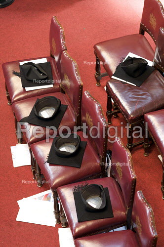 Mortarboards placed on chairs at a university graduation day at The Guildhall, London - Duncan Phillips - 2010-05-18