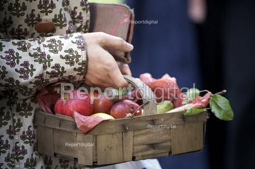 Highgate horticultural society selling a basket of home grown fruit including apples, Autumn Show stall, The United Refomed Church, Highgate, London - Duncan Phillips - 2010-09-18