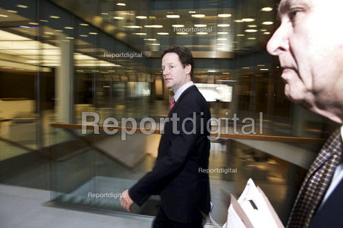 Nick Clegg and Vince Cable at the London stock Exchange calling for a cross-party Council of Financial Stability to agree the timetable and scale of deficit reduction. - Duncan Phillips - 2010-03-22