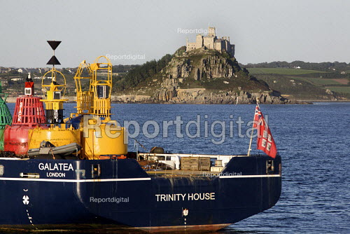 Ship used by Trinity House to maintain bouys in UK waters. Multi Functional Tender (MFT), GALATEA. Designed with buoy handling, wreck marking, towing and multibeam and side scan hydrographic surveying capability. St Michaels mount in the background. - Duncan Phillips - 2010-08-30