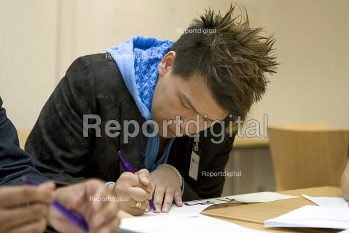 A university student studying in a lecture. - Duncan Phillips - 2005-04-18