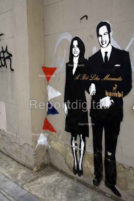 A bit like marmite. William and Kate Royal wedding Graffiti and wedding invitation, Islington, London, uk - Duncan Phillips - 2011-04-28