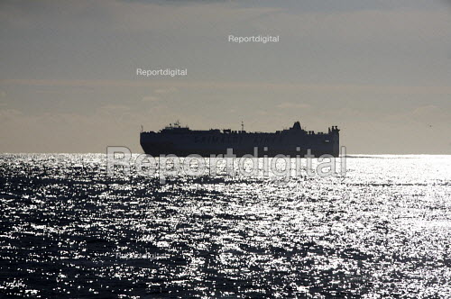 Grimaldi Lines car and passenger Ferry sailing off the coast of Cornwall UK - Duncan Phillips - 2010-08-30