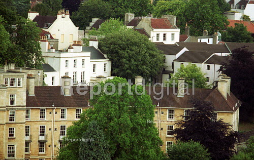 Terraced and town Houses surrounded by trees. Bristol - Duncan Phillips - 2003-07-13