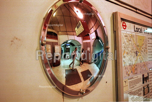Convex mirrors at Finsbury Park underground Station for passenger safety. - Duncan Phillips - 2000-10-18