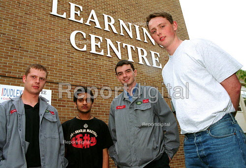 Apprentices with MSF steward outside the Learning Centre at Rover Longbridge. - John Harris - 2000-05-18