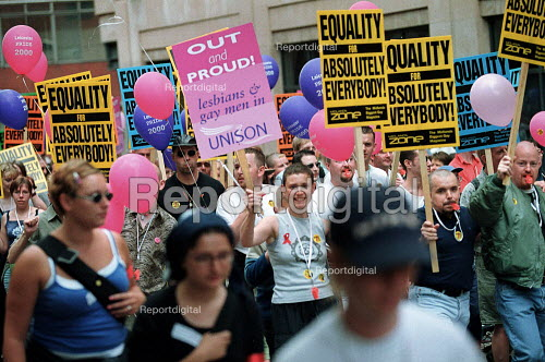 Gay Pride march and protest against Section 28 which prevents discussion of homosexuality in schools. - John Harris - 2000-07-29