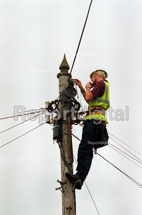 BT engineer repairing a telephone junction box up a telegraph pole. - John Harris - 2000-08-15
