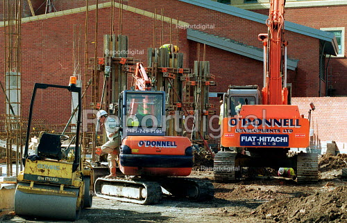 Diggers on building site, construction site Worcester. - John Harris - 2000-10-04