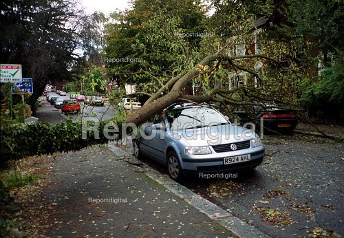 Storm damage, tree blown over in gales crashed ontop of a parked car, Crouch End, London - John Harris - 2000-10-30
