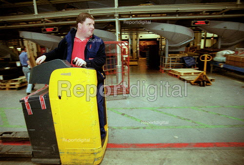 Fork lift truck operator. Post Officer worker. Post Office Parcel Force Royal Mail Coventry Hub distribution. - John Harris - 2001-05-10