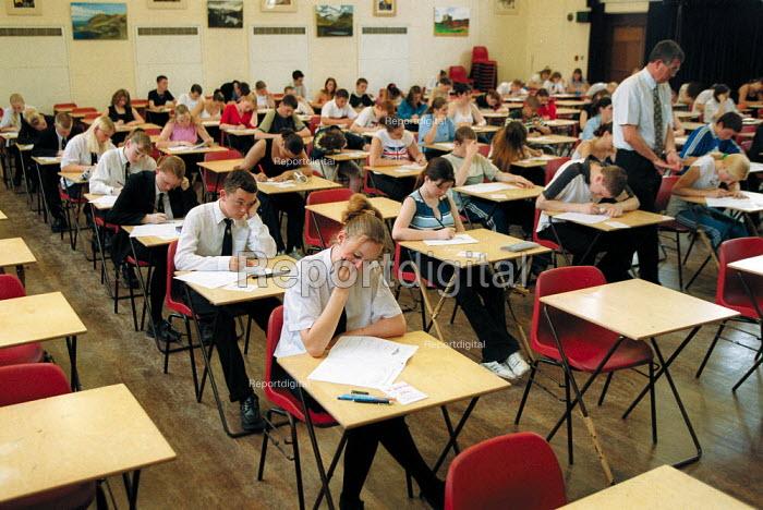 Pupils sitting examinations at a secondary school. - John Harris - 2001-06-25