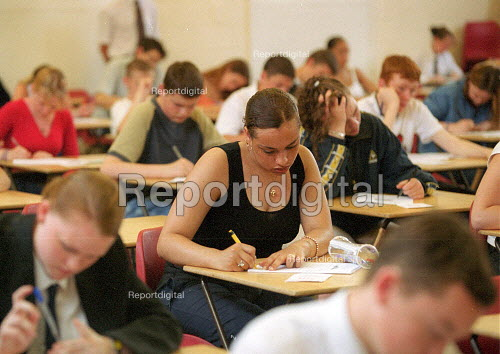 Pupils sitting examinations at a secondary school. - John Harris - 2001-06-25