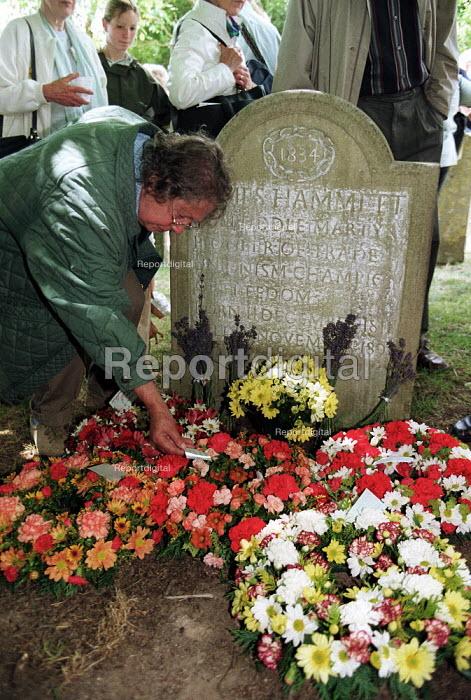 Wreaths layed on the grave of Martyr James Hammett Tolpuddle Martyrs Festival Dorset. - John Harris - 2001-07-15