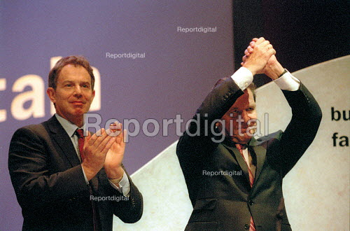 Tony Blair MP and Chancellor Schroder of Germany. Labour Party Conference 2001 - John Harris - 2001-10-01