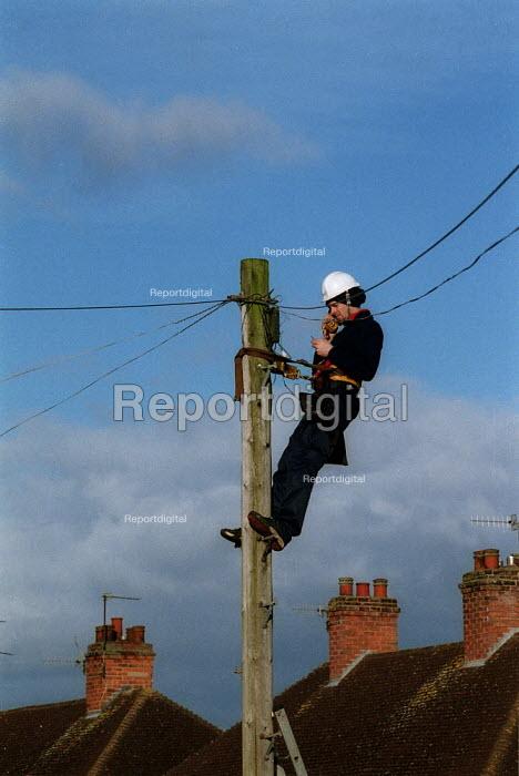BT engineer fault finding up a telegraph pole. - John Harris - 2002-03-07