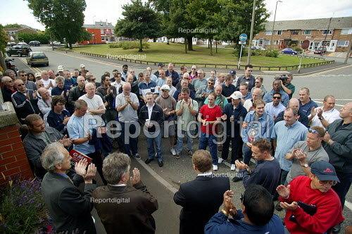 Kevin Curran GMB Gen Sec and Roger Jeary Amicus MSF speaking to striking workers outside the French owned Rhodia factory gates at Oldbury. This is the first time British industrial workers have taken strike action to defend a pension scheme. - John Harris - 2003-07-18