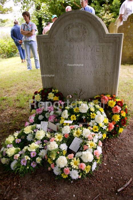 Wreaths on the grave of James Hammett. Tolpuddle Martyrs Festival Dorset. - John Harris - 2003-07-20