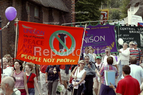 Unison banners. People not profit, Peace not War, Tolpuddle Martyrs Festival Dorset. - John Harris - 2003-07-20