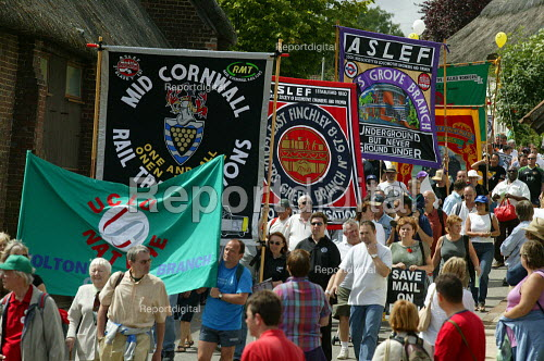 ASLEF and RMT banners Tolpuddle Martyrs Festival Dorset. - John Harris - 2003-07-20