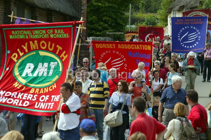 RMT & NUT banners Tolpuddle Martyrs Festival Dorset. - John Harris - 2003-07-20