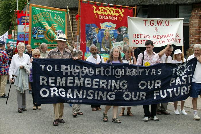 TGWU banner Tolpuddle Martyrs Festival Dorset. - John Harris - 2003-07-20