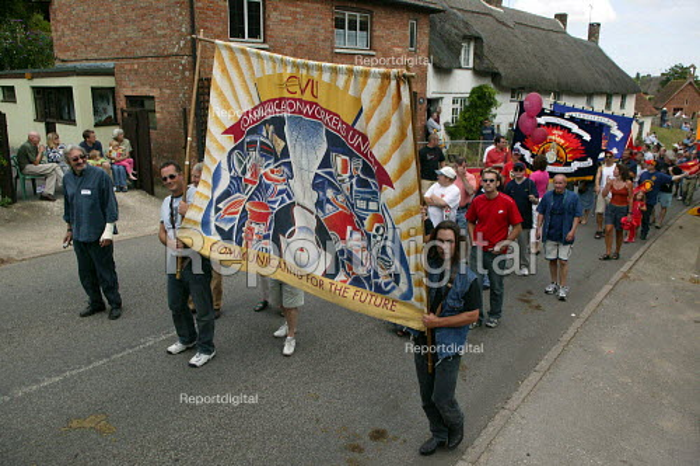 CWU banner Tolpuddle Martyrs Festival Dorset. - John Harris - 2003-07-20