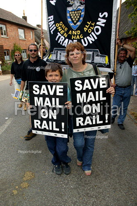 Save Mail on Rail banner, RMT & ASLEF Tolpuddle Martyrs Festival Dorset. - John Harris - 2003-07-20