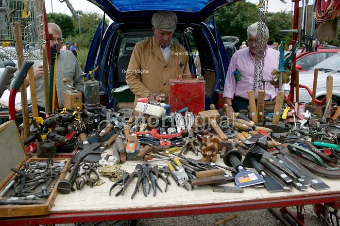 Tools. Saturday morning car boot sale, Stratford on Avon, Warwickshire - John Harris - 2003-09-06