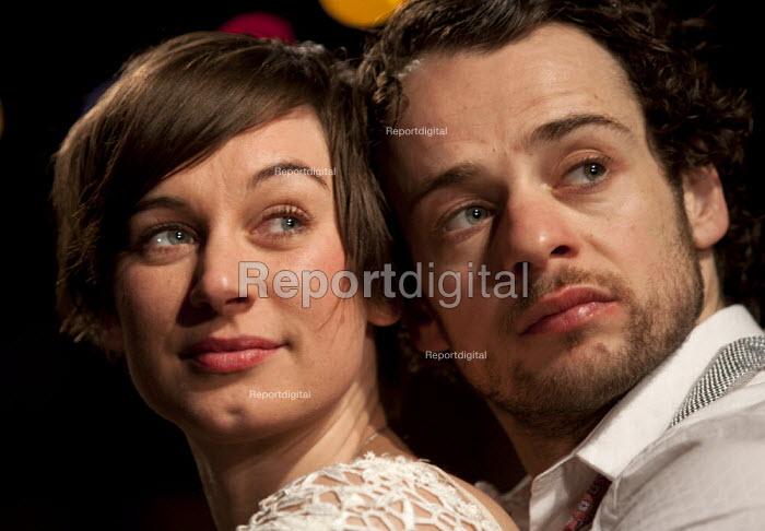 Pippa Nixon as Rosalind and Alex Waldmann as Orlando in As You Like It. RSC, Swan, Stratford-upon-Avon - John Harris - 2013-04-22